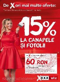 XXXLutx - 15% reducere la canapele si fotolii | 12 Mai - 23 Mai